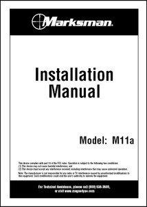 Marksman M11a | Installation Manual