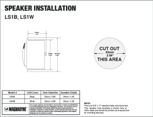 "Aquavibe LS1W | Marine Waterproof 1"" Tweeter - Installation Template"