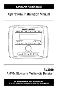 Linear Series RV3000 AM/FM/USB/AUX/BT Deckless Wall Mount Receiver Operation / Installation Manual