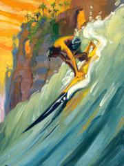 Golden Surf Sled [Note Card Set of 6]