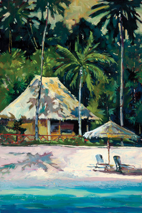 Island Hideaway is another beautiful impressionist painting of Daniels unique color palette.  Daniels paints each composition with his own interpretation of reality as he sees the world and for the viewer to grasp that vision he has created with his dramatic palette knife and brush stroke techniques.  Each of Daniel's Tru-Giclee Limited Editions are imaged onto archival canvas utilizing the Giclee imaging process using archival inks.  The piece is un-stretched and is shipped rolled in a tube.