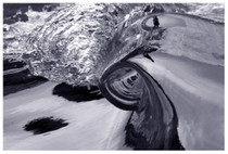 """Our SurfART Photographer Scotty Carter has captured this 1"""" tall Miniature Wave  with his special technics that took him years of trial & error to develop and master this unique perspective that we would not normally be able to see and is now available for you to enjoy in your home or office. This great big Photo on Canvas was created by the Giclee Imaging Process onto Canvas and can be stretched onto  regular stretcher bars for framing or onto a 1.25""""stretcher bars in the Gallery Wrap format not requiring a frame.  This 38""""x25"""" Photo on Canvas is un-stretched and is shipped rolled in a tube."""