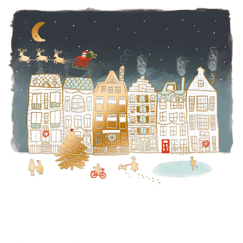 Santa over the Rooftops. £4.25 for 10 cards. 126 x 126mm with gold foil.  Greeting: Seasons Greetings.