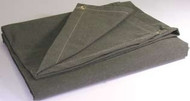 14' X 16' c/s 14.90 oz.. Flame Resistant Canvas Tarp W/Grommets 24'' Apart