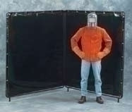 6X6 X 6'H Orange Weld-View 2 Panel Welding Screen Complete Unit 6' X 12' Curtain
