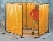 8X8X8X8 X 6H Yellow Vinyl Laminated 4 Panel Weld Screen Complete 6 X 32 Curtain