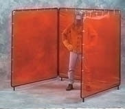 5X5X5 X 5'H Orange Weldview 3 Panel Welding Screen Complete Unit 5' X 15' Curtain
