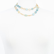 Aqua Marine Baroque Pearl Necklace