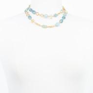 Aqua Marine Baroque Pearl Necklace