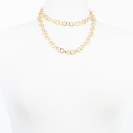 Long Hammered Gold Necklace