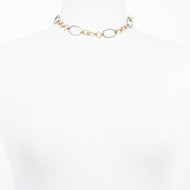 Oxidized Sterling and Gold Link Choker