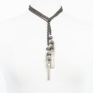 Labradorite Double Gunmetal Lariat Necklace