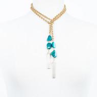 Blue Opal Lariat Necklace