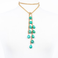 Cluster Turquoise Lariat Necklace