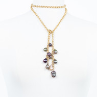 Cluster Pearl Gold Lariat Necklace