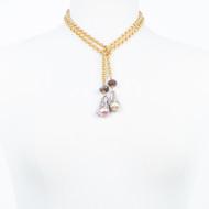 Baroque Pearl Chocolate Moonstone Lariat Necklace