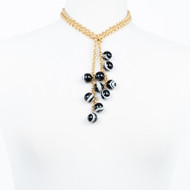 Black and White Jasper Cluster Lariat Necklace