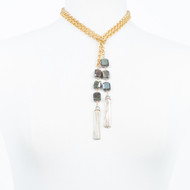 Labradorite Cube Lariat Necklace