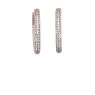 Pave CZ Sterling Hoop Earrings