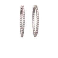 Sparkling CZ Oval Hoop Earrings