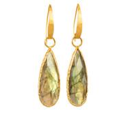 Tear Drop Labradorite Gold Earrings