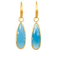 Tear Drop Sky Blue Chalcedony Earrings