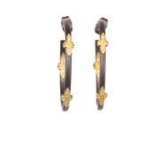 Oxidized Sparkle Hoop Earring