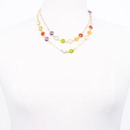Rainbow Gem Stone Chain Necklace