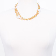 Square Cultured Pearl Gold Necklace