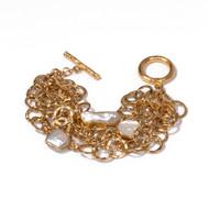 Gold Link Pearl Cluster Bracelet