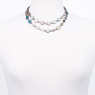 Oxidized Sterling Multi Stone Long Necklace
