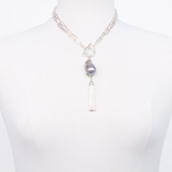 Baroque Pearl Sterling Tassel Necklace