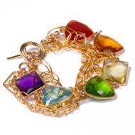 Rainbow Gemstone Cluster Bracelet