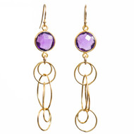 Amethyst Single Gemstone Floating Earring