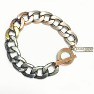 Mens Toggled Heavy Mixed Link Bracelet
