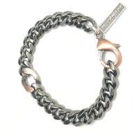 Mens Gunmetal with Copper Accent Bracelet