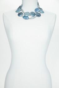 Denim and Agate Belt Necklace
