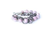 Pink Stone and Gunmetal Bracelet