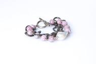 Pink Stone with Pearl Gunmetal Bracelet