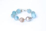 Aqua Marine Pearl Bracelet