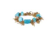 Aqua Marine Gold Tassel Bracelet
