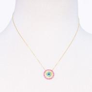 Rainbow Cubic Zirconia Disk Necklace