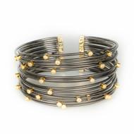 Oxidized Sterling Gold Accent CZ Cuff
