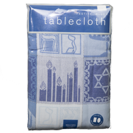 Woven Blue & White Chanukah Tablecloth