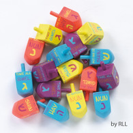 Large Bold Painted Wood Dreidels with English