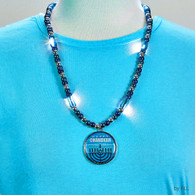 Chanukah Light Up Necklace - Blue and Silver Beads