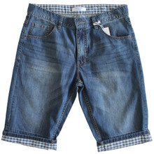 Men's Medium Wash Denim Roll Up Shorts In Longer Length Blue