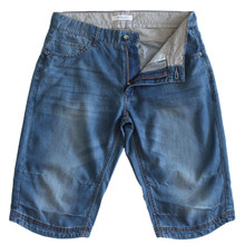 Men's Medium Wash Denim Shorts in Longer Length Jeans Shorts Blue