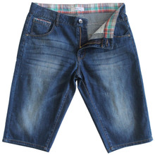 Mens Medium Wash Denim Shorts in Longer Length Jeans Shorts Blue