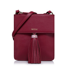 Leather Shoulder Bag with double compartment, Wine Red